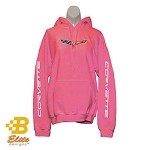 C6 Corvette Pink Hooded Sweatshirt with Sleeve Print - Light or Dark Pink