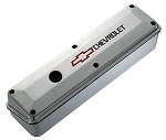 C3 Corvette 1968-1982 Small Block Polished Aluminum Valve Cover -2 Piece - Recessed Red Bowtie and Black Chevrolet