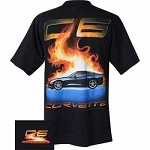 C6 Corvette Flame Black Tee Shirt