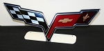 C6 Corvette 2005-2013 Cross Flags Emblem Free Standing Metal Sign