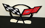 C5 Corvette 1997-2004 Crossed Flags Emblem Free Standing Metal Sign