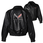 C7 Corvette 2014+ Stingray Mens Leather Bomber Jacket