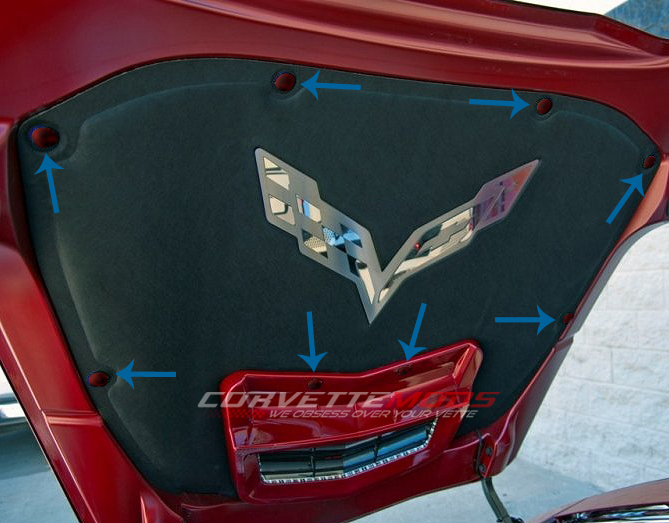 Corvette C7 Stingray >> C7 Corvette Stingray/Z06/Grand Sport 2014+ Custom Painted Hood Liner Fasteners Kit - 6Pc