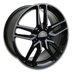 C7 Corvette Stingray Gloss Black OEM Style Z51 Wheels - Fitment For C5 C6 1997-2013 18x8.5 / 19x10