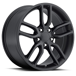 C6 C7 Corvette 2005-2014+ Stingray Satin Black OEM Style Z51 Wheels - 18x8.5 / 19x10