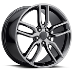 C6 C7 Corvette 2005-2014+ C7 Stingray Black Chrome OEM Style Z51 Wheels - 19x8.5 / 20x10