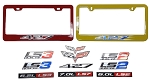 C6 Corvette 2005-2013 Custom Painted License Plate Frames With Stamped Aluminum Emblems