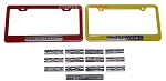 C6 Corvette 2005-2013 Custom Painted License Plate Frames With Billet Emblems - 6.0L/6.2L