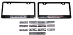 C6 Corvette 2005-2013 Black / Chrome License Plate Frames With Billet Emblems