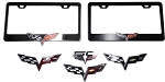 C6 Corvette 2005-2013 Black/Chrome License Plate Frames With Crossed Flag Emblems