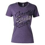 C3 C4 C5 C6 C7 Corvette 1968-2014+ Corvette Threefold Script Ladies T Shirt - Purple