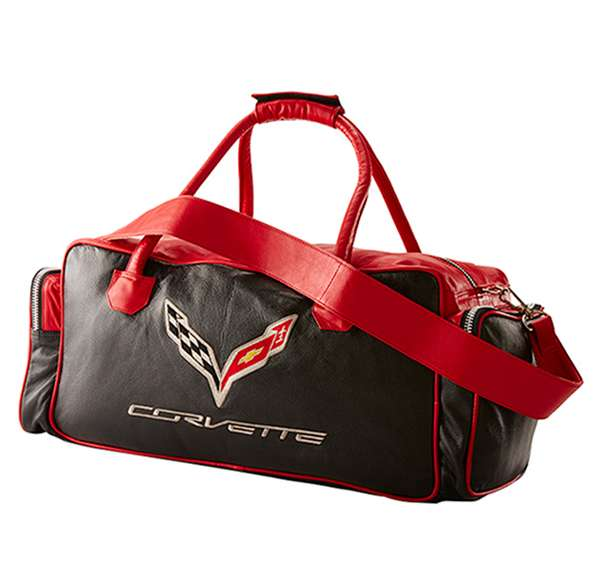 C6 Corvette All Leather 24 Inch Embroidered Duffle Bag