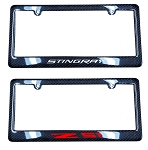 C7 Corvette 2014+ Carbon Fiber License Plate Frames - W/ Vinyl Decal