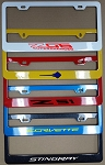 C7 Corvette Stingray/Z06/Grand Sport 2014+ Color Matched Painted License Plate Frames - W/ Vinyl Decal