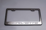 C7 Corvette Stingray/Z06/Grand Sport 2014+ Black / Polished License Plate Frame - Corvette Script