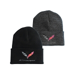 C7 Corvette Stingray 2014+ Knit Pullover Beannie W/ Cuff Option - Crossed Flags Logo