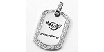C5 C6 Corvette 1997-2013 Stainless Dog Tag With CZ Pendant - 1 1/4 x 7/8