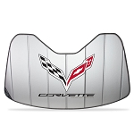 C7 Corvette Stingray/Z06/Grand Sport 2014+ Logo Accordion Style Sunshade - Insulated Silver