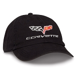 C6 Corvette 2005-2013 Crossflags Logo Unconstructed Cap - Black / Khaki