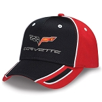 C6 Corvette 2005-2013 Crossflags Logo Black & Red Pique Mesh Cap