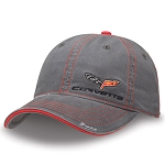 C6 Corvette 2005-2013 Gray Washed Twill Cap W/Logo