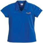 C6 Corvette 2005-2013 Womens Nike Dri-Fit Polo Shirt Micro Pique - Blue / Black