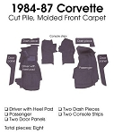 C4 Corvette 1984-1987 Coupe/Convertible Carpet Set Cut Pile - Front With Pad Options