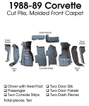 C4 Corvette 1988-1989 Coupe Carpet Set Cut Pile - Front With Pad Options