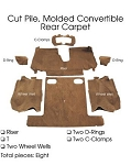 C4 Corvette 1990-1993 Convertible Carpet Set Cut Pile - Rear With Pad Options