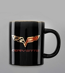 C5 C6 Corvette 1997-2013 Black Travel Mug - 22K Gold Crossed Flags Logos