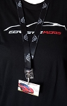 C5 Corvette 1997-2004 Black / Silver Lanyard - Crossed Flag Logo