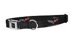 C6 Corvette 2005-2013 Black / Silver Buckle Dog Collar - Crossed Flags