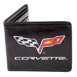 C6 Corvette 2005-2013 Black Bi-Fold Wallet - Centered Crossed Flags Logo