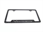 C7 Corvette 2014-2019 GM Black License Plate Frame - Chrome Corvette Script/Flags