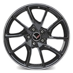 C7 Corvette Z06 2015+ GM Gloss Black Painted Wheels w/ Machined Groove - 19x10 / 20x12