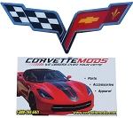 C6 Corvette 2005-2013 Crossed Flags Emblem - Medium 5 Inch - Pair