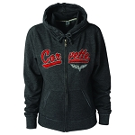 C6 Corvette 2005-2013 Ladies Full Zip Track Jacket W/ Hood - Heather Gray