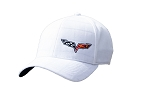 C6 Corvette 2005-2013 Prepp Fit White Cap - Crossed Flags Logo