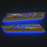 C7 Corvette Z06 2015+ Hydro Carbon Fiber LED Side Fender Emblem Lighting Effects - Pair