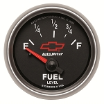 Autometer 2-1/16 inch Fuel Level Gauge 0-90 ohm SSE - GM Black w/ Bowtie Logo