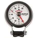 C3 C4 C5 C6 C7 Corvette 1968-2014+ Autometer 3 3/4 inch Pedestal Tachometer 0-8000 RPM - GM White w/ Chevy Bowtie Logo on Face