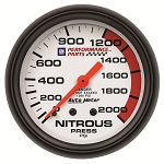 Autometer 2-5/8 inch Nitrous Pressure Gauge 0-2000 PSI - GM White