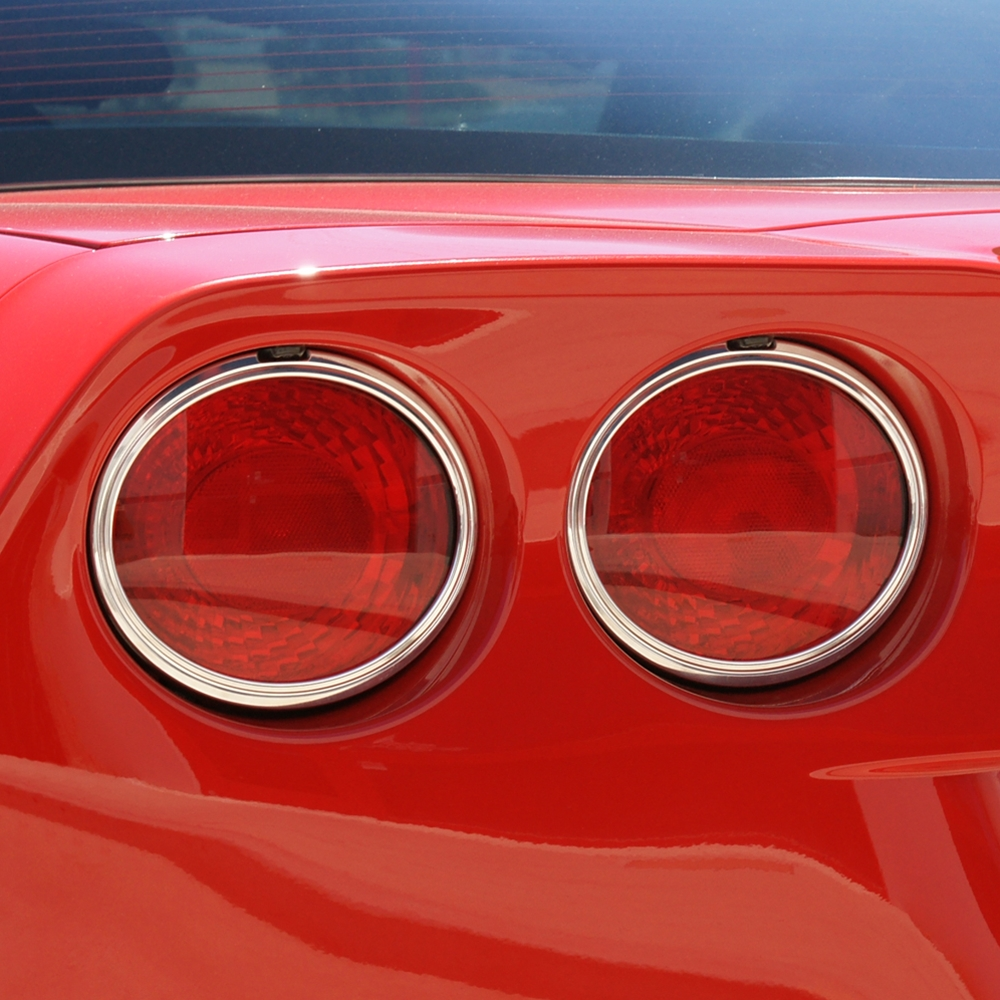 C6 Corvette 2005 2013 Tail Light Bezels Chrome Set Of