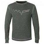C6 Corvette 2005-2013 Vintage Thermal Long Sleeve Shirt w/ Crossed Flags Logo