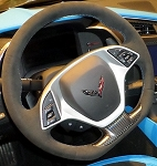 C7 Corvette Stingray/Z06/Grand Sport 2014+ Manual Black Suede Flat Bottom Steering Wheel w/ Tension Blue Stitching & GS Cap
