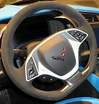 C7 Corvette Stingray/Z06/Grand Sport 2014+ Automatic Black Suede Flat Bottom Steering Wheel w/ Tension Blue Stitching & GS Cap