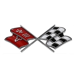 C2 Corvette 1967 Crossed Flags Front End Panel Emblem - Correct Maroon / Dark Red or Red Orange Color - OE Correct