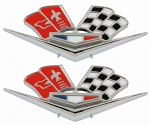 C2 Corvette 1963-1966 Crossed Flags Front Fender Badges w/ Correct OE Color - Pair