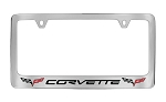 C6 Corvette 2005-2013 Chrome Script & Flag Logo License Plate Frames