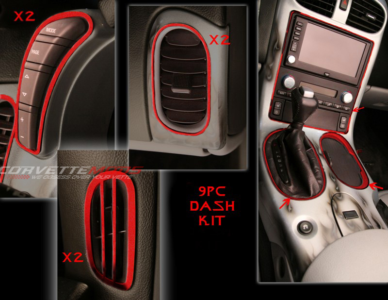 c6 corvette 2005 2013 custom painted interior dash trim kit 9 pcs corvette mods. Black Bedroom Furniture Sets. Home Design Ideas